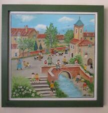 """Charlotte Julian - """"Le village de mamie"""" - Art Naïf - Acrylique - Tableau -"""