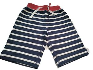 Hanna Andersson Boys Striped Navy Blue French Terry Shorts Size 120/US 6-7  NWT