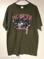 Large L American Whitetail Deer Hunter Patriotic Green Graphic Tee Shirt Mens