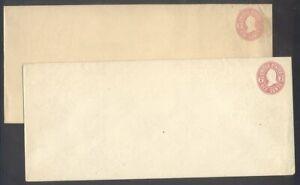 U.S. #U62-63 (134-35) Mint Entires - 6c Pink ($250)