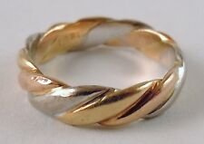 100% Genuine Vintage 18k Solid Yellow, White & Rose Gold Trinity Band Ring Sz 4