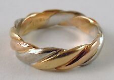 100% Genuine 18k Solid Yellow, White & Rose Gold Trinity Band Ring Sz 4