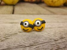 Handgemachte Ohrringe Ohrstecker Minions Despicable Me Creolen Silber Fimo Punk