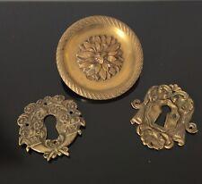 3 ELEMENTS BRONZE DORE Entrées De Serrure XIXè Victorian French Gilded Bronze