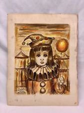 Autographed Girl Clown Holding Balloon Acrylic Painting by George Crionas