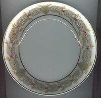 Haviland Limoges China Flat Soup Bowl with Green Garland Design w/Gold Trim