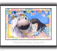 LARGE DAPPLE GREY PONY LOVER GIRL PAINTING ART BIRTHDAY CARD BY SUZANNE LE GOOD