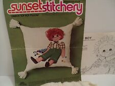 Vintage Sunset Stitchery Carrot Top Boy Pillow 2926 Almost Complete w/ Defects