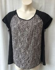 Size 18-20 Top Blouse Shirt Cap Sleeve Black White Work Corporate Casual Evening