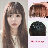 Clip In Bangs Fringe Fake Hair Extension Brown Black Straight Front Hair Bang d8