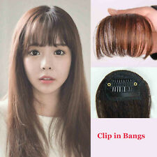 Clip In Bangs Fringe Fake Hair Extension Brown Black Straight Front Hair Bang d8