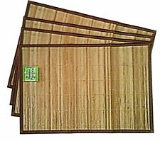 Green Bamboo Natural Bamboo Placemat with Fabric Border (Set of 4) (Brown)