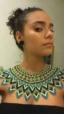 - Blue, Black, and Gold Beautiful Indigenous Festival Necklace w/ Earrings