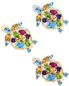 2 1/2 Ct Multi Cut Multi Stone 18K Gold Over Turtle Pendant Necklace $319.88