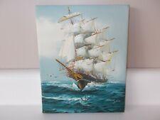 New ListingHewitt Jackson Oil Painting ~ Ship at Sea ~ Vintage ~ 8 X 10