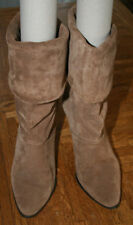 1980s Vintage Womens Light Brown Joyce California Suede Boots, Size 8.5 M