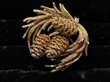 Signed Estate 14K Gold Wonderfully Textured 3-D Pine Cones and Pine Branches Pin