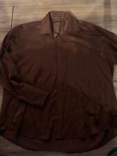 Henri Picard Mens Long Sleeve Button Up Dress Shirt Size 18 1/2 34/35 Rust