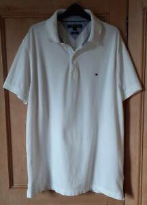 Tommy Hilfiger Mens White Polo Shirt Slim Fit L/G Large. PLEASE READ DESCRIPTION