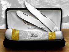 CASE XX Antique Gold and White Pearl Corelon Split Handle Trapper Pocket Knives