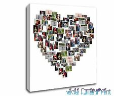 "LOVELY 20""X20"" HEART SHAPED COLLAGE CANVAS PERSONALISED PHOTO"