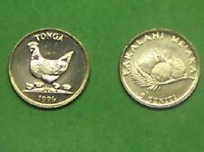 "TONGA  1996 5 SENITI ""HEN W/ CHICKS""  KM68  UNCIRCULATED COIN"