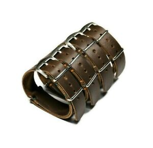 Watch band leather Horween brown 18 20 22 24mm Handmade military wristwatch band