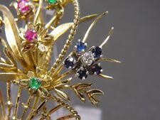 Blumen- Korb Brosche mit 0,79 Carat Brillanten Smaragden Saphire Rubine Gold 750