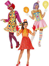 Ladies Clown Costume Adults Circus Fancy Dress Womens Novelty Funny Comic Outfit