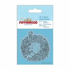 Papermania 75 x 75mm MINI CLEAR STAMP-pippinwood NATALE-GHIRLANDA
