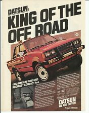 1982 Datsun King Cab Pick Up Truck Red Color Photo Vintage Print Ad