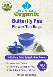USDA Organic Dried Butterfly Pea Flower Blue Herbal 40 TEA BAGS Value Pack