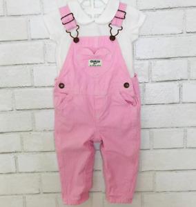 Oshkosh B'gosh 9 Months Baby Girl Pink Overalls & White Bodysuit Set Vestbak