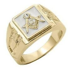 18k Gold EP Masonic Freemason Mens Ring Size 8-14 White Mason 33