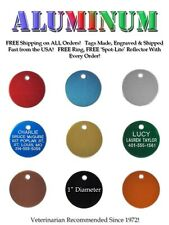 Small Pet Dog Cat Identification Name Tags - A Custom Engraved ID Tag - 9 Colors