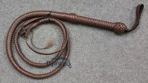 6 Feet Long 12 Plait Dark Brown Genuine Top Grain Leather Heavy Duty Bullwhip