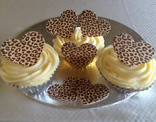 12 Leopard Print Wafer Rice Paper Heart Birthday Party Cupcake Cake Bun Toppers