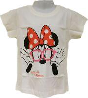Girls Kids Official Disney Minnie Mouse T-Shirt White Short Sleeve T Tee Shirt