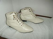 Danexx Vintage Granny Grunge Beige Boots Size 5.5 M Women's