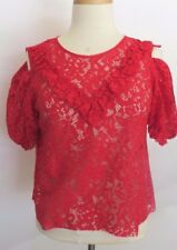 3b4db3ba997e4 Zara Red Color Floral Lace Short Sleeve Open Shoulder Frill Top Size M