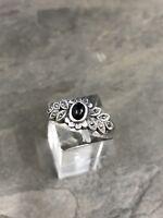 Sz 9, Vtg Sterling Silver Handmade Ring, 925 Silver Band W obsidian inlay