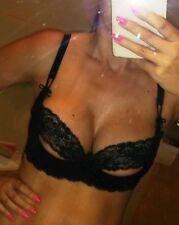 Agent Provocateur 34B peek a boo bra & S thong MARGOT black lace set NEW