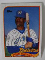 1989 Topps Juan Castillo Milwaukee Brewers Wrong Back Error Baseball Card