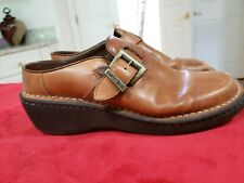 EARTH SHOES Women's Size 8.5 Brown Leather Shoes Slip-on Clogs Mules
