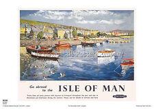 Isla De Man Puerto St Mary de estilo vintage y retro arte cartel de publicidad de viajes de ferrocarril