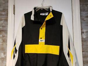 Vintage Reebok 1/4 Zip Windbreaker Jacket Size Small Black 90s