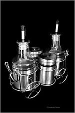 Modern Stainless Steel Glass Oil and Vinegar Cruet Set w Chrome Wagon Cart Caddy