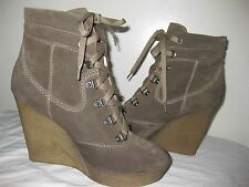 DIESEL Wedge Suede Leather Ankle Boots Gray Shoes Women Size 8.5 Made In BOSNIA