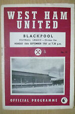 1961 League Division One- WEST HAM UNITED v BLACKPOOL, 18th September