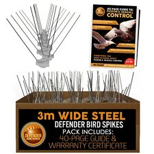 Defender Wide Stainless Steel Bird & Pigeon Spikes | 3 m Pack | Bird Guide